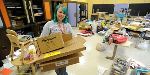 A group of Nazareth College students organized craft and classroom supplies to help RCSD School 41 prepare for their first day.