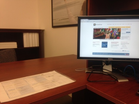 An organization-wide calendar sits on the desk of at least one GuideStar employee-- me!