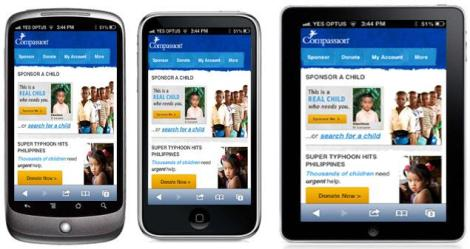 Example of a website that is optimized for viewing on mobile devices