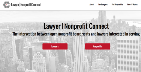 lawyer nonprofit connect landing page
